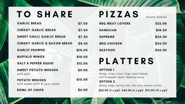 Menu -shares pizza