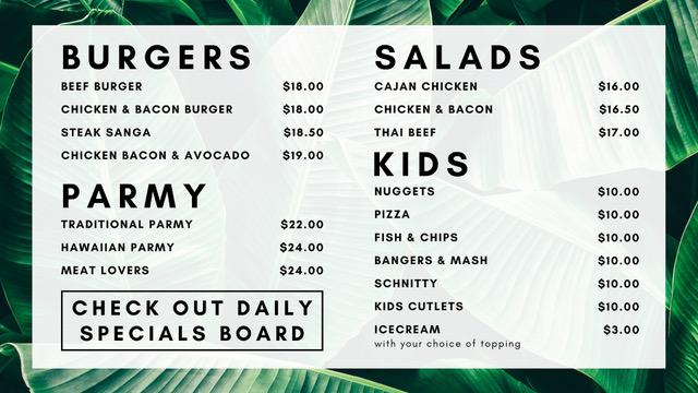 menu burgers sides